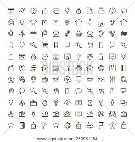Website Icon Set. Collection Of High Quality Outline Site Pictograms In Modern Flat Style. Black Int