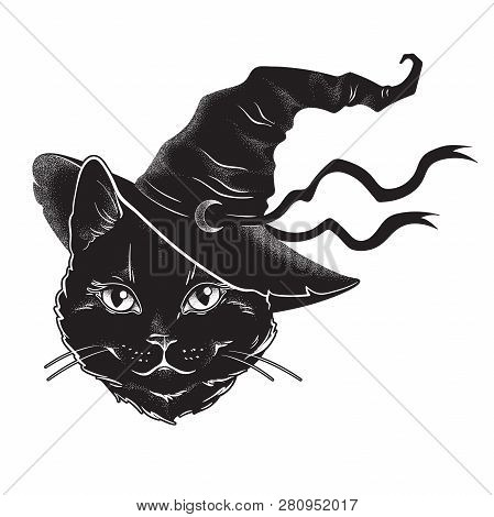 Black Cat With Pointy Witch Hat Line Art And Dot Work. Wiccan Familiar Spirit, Halloween Or Pagan Wi