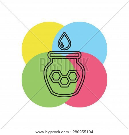Illustration Of Drizzler And Honey With Glass Jar, Vector Honey Jar, Natural Dessert. Thin Line Pict