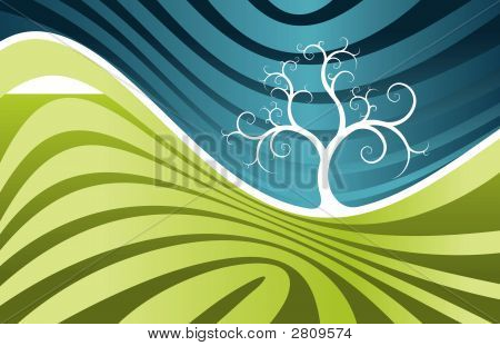 Abstract Spring Landscape With Tree