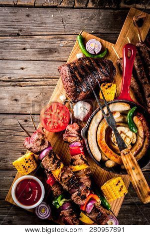 Assortment Various Barbecue Food Grill Meat, Bbq Party Fest - Shish Kebab, Sausages, Grilled Meat Fi