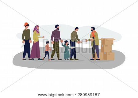 Migrant people in queue for humanitarian aid. Refugees get into Europe isolated on white background. Flat Art Vector illustration poster
