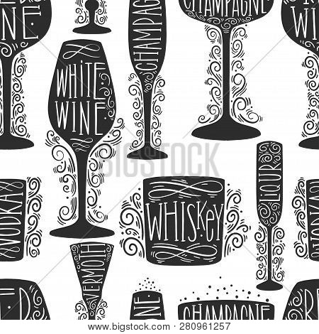 Seamless Pattern Of Silhouette Images Of Glass Glasses For Different Drinks. Shape Stemware Letterin