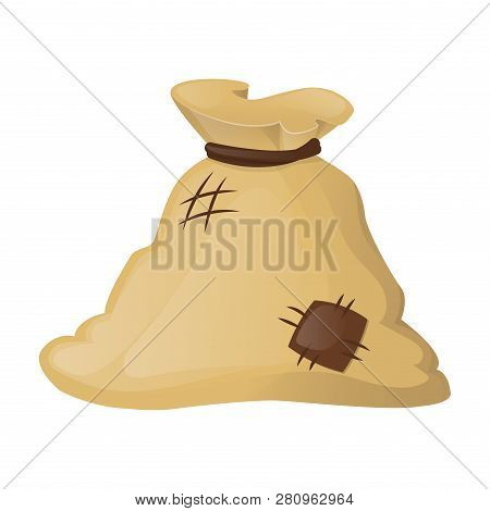 Flour In Bag, Baking Vector Large Textile. Agricultural Product. Big Knotted Burlap Full Isolated On