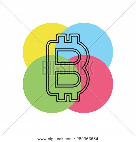 Bitcoin Illustration Isolated, Money Symbol - Vector Bitcoin, Cash Payment. Thin Line Pictogram - Ou