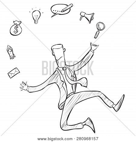 Multi Skill Concept. Businessman Juggling Business Icons And Skills. Concept Business Vector Doodle