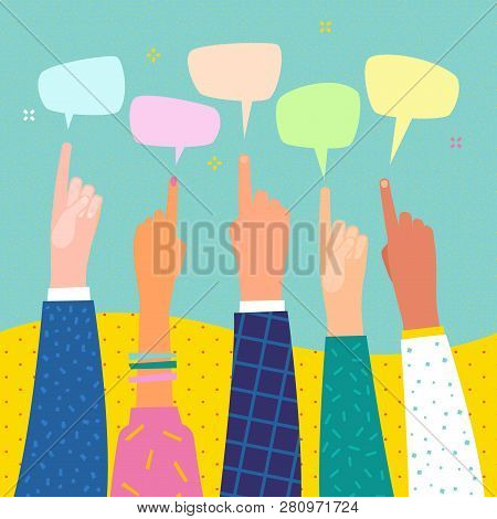 Human Hands Point Finger On Speech Bubble. Hands With Pointing Finger.