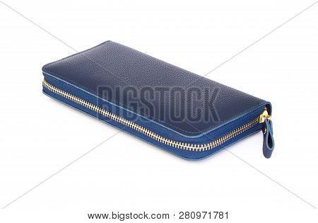 Closeup Modern Blue Woman Wallet Fashion On White Background