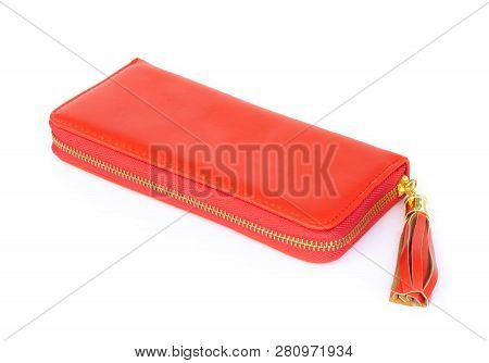 Closeup Modern Red Woman Wallet Fashion On White Background