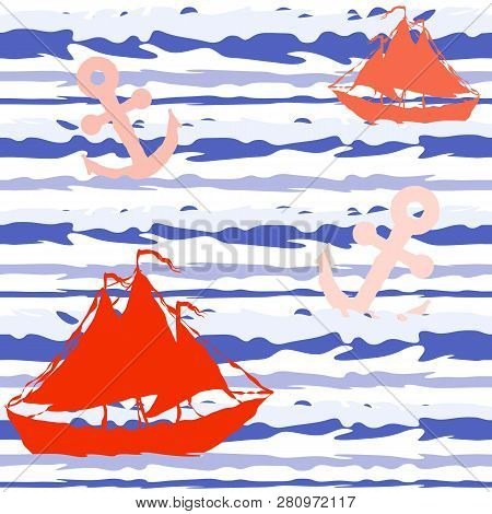 Marine Striped Seamless Pattern With Ships And Anchors. Vector Eps 10