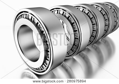 3D rendering. Automotive bearings auto spare parts. Tapered roller bearing isolated on a grey background. Wheel bearing for truck, heavy duty and car. poster