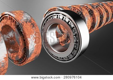 3d Rendering. Automotive Bearings Auto Spare Parts. New And Old Tapered Roller Bearing Isolated On A