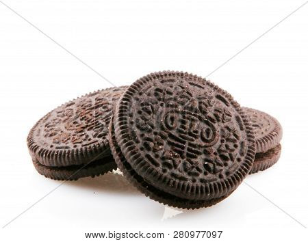 Aytos, Bulgaria - December 11, 2015: Oreo Isolated On White Background. Oreo Is A Sandwich Cookie Co
