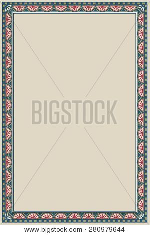 Medieval Manuscript Style Rectangular Frame. Vertical Orientation. Vintage Color Palette. Hand Drawn