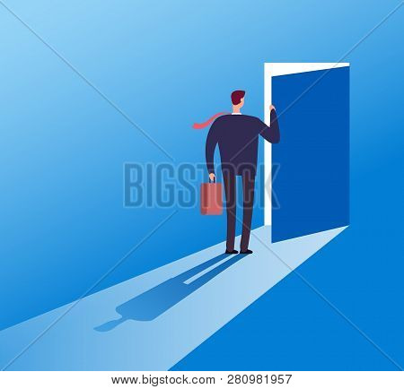 Businessman Opening Secret Door. Opportunity, Accessible Entering. Risk Solution And Leadership Busi