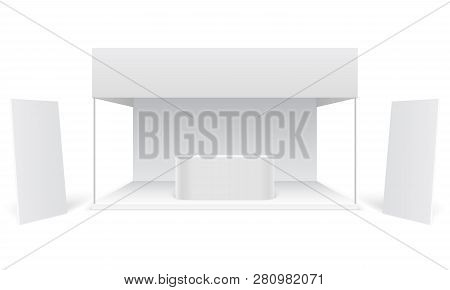 Event Exhibition Trade Stand. White Promotional Advertising Booth, Standing Blank Display Banners. M