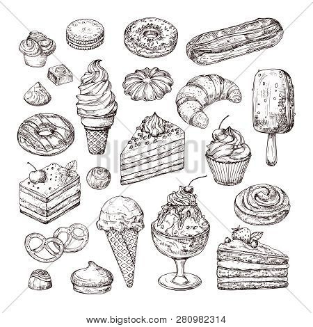 Sketch Dessert. Cake, Pastry And Ice Cream, Apple Strudel And Muffin In Vintage Engraving Style. Han