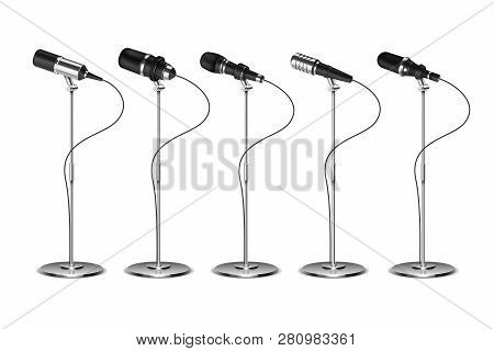 Microphones. Voice Amplification Audio Equipment. Broadcast, Concert And Interview Microphone On Sta