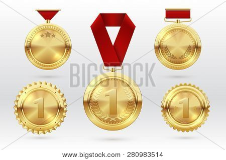 Gold Medal. Number 1 Golden Medals With Red Award Ribbons. First Placement Winner Trophy Prize. Vect