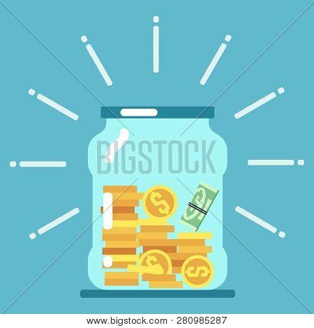 Flat Money Glass Jar Illustration. Saving Money Concept. Save Moneybox, Keep Cash In Glass Bottle