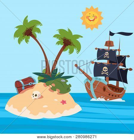 Pirates Ship And Treasures Island Vector Illustration. Treasure On Sand Island In Ocean