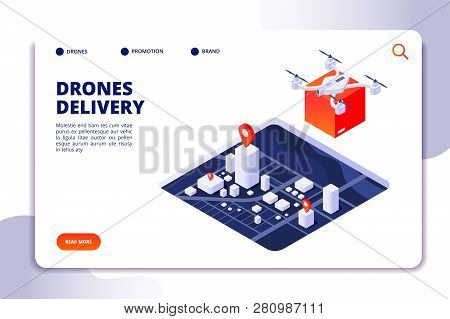 Drone Logistics Isometric Concept. Future Delivery Technology, Shipment With Unmanned Drones And Qua