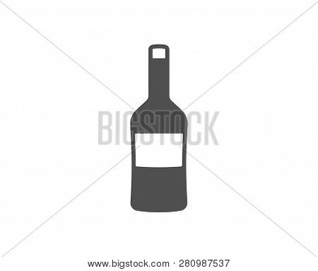 Wine Bottle Icon. Merlot Or Cabernet Sauvignon Sign. Quality Design Element. Classic Style Icon. Vec