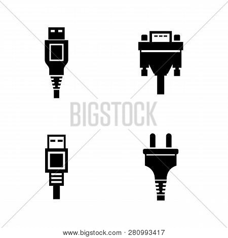Pc Plug, Digital Connector. Simple Related Vector Icons Set For Video, Mobile Apps, Web Sites, Print