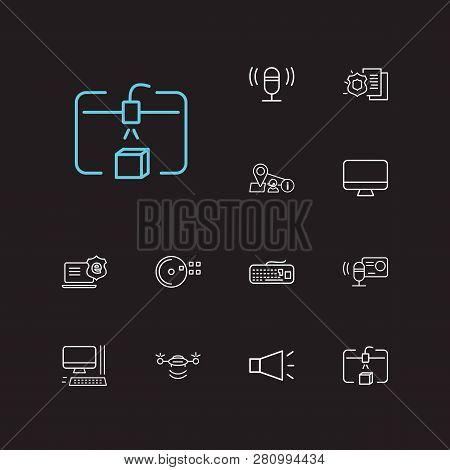 Hardware Icons Set. Audio Recorder And Hardware Icons With Cd Disk, Computer And Steamroller. Set Of