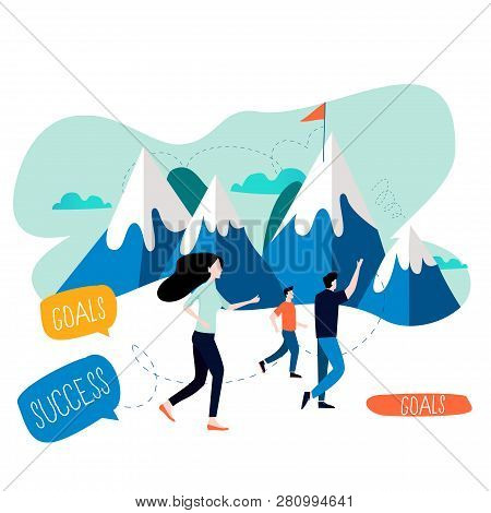 Business Goal, Targeting Success, Career Challenges And Opportunities Flat Vector Illustration Desig