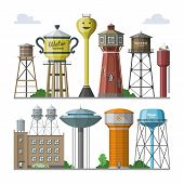 Water tower vector tank storage watery resource reservoir and industrial high metal structure container water-tower in city illustration set of towered construction isolated on white background poster
