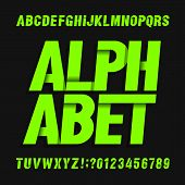 Abstract alphabet font. Modern oblique letters and numbers on dark background. Vector typescript for your typography design. poster