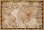 vintage world map illustration based on image furnished by NASA poster