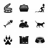 Cat toys icons set. Simple set of 9 cat toys icons for web isolated on white background poster