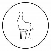 Man sitting pose Young man sits on a chair with his leg thrown silhouette icon black color outline vector illustration flat style simple image in circle round 84 poster