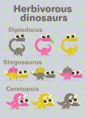 Herbivorous dinosaurs. Variants of coloring of funny dinos with big eyes. Diplodocus, ceratopsia, stegosaurus. Vector illustration of prehistoric characters in flat cartoon style on neutral background poster