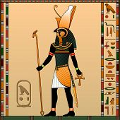 Religion of Ancient Egypt. Horus is the god of heaven, of royalty, the patron of the pharaohs. Ancient Egyptian god Horus in the guise of a man with a falcon head. Vector illustration. poster