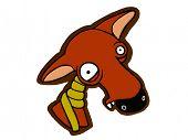 vector cartoon of sick winter fox in a scarf poster