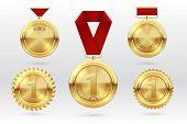 Gold medal. Number 1 golden medals with red award ribbons. First placement winner trophy prize. Vector set of golden award and medal trophy illustration poster