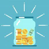 Flat money glass jar illustration. Saving money concept. Save moneybox, keep cash in glass bottle poster