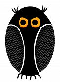 black funny owl illustration isolated over white background poster