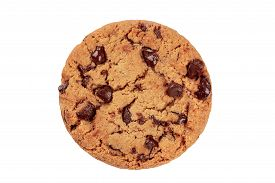 A Photo Of A Chocolate Chip Cookie, Isolated On A White Background With A Clipping Path, Shot From T