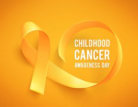 Background With Realistic Yellow Ribbon. World Childhood Cancer Awareness Symbol, Vector Illustratio