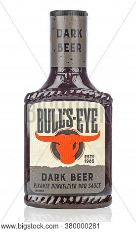 Niedersachsen, Germany August 8, 2020: A Plastic Squeezy Bottle Of Bull's Eye Dark Beer Flavoured Bb