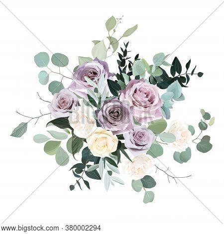Dusty Violet Lavender, Mauve Antique Rose, Purple Pale And Ivory Yellow Flowers Vector Design Weddin