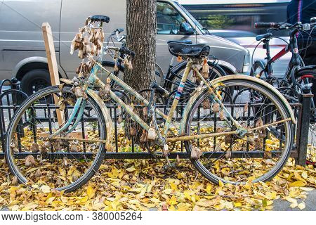 Toronto, Canada-Oct 24, 2019:  An old bicycle with tea bags, in front of a cafe in Toronto, Canada.