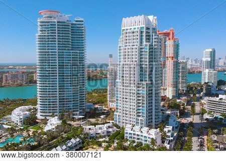 South Beach, Miami Beach, South Pointe Park, Aerial View. Flies Near Modern Skyscrapers On The Shore
