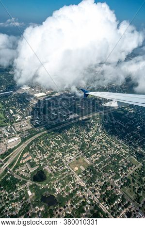 Above The Clouds And Above Minneapolis Minnesota From Airplane