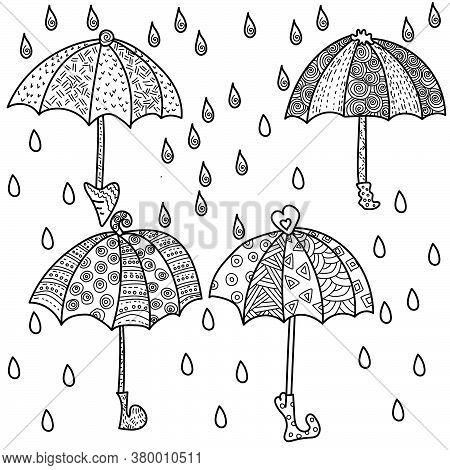 Set Of Outline Umbrellas With Abstract Patterns, Raindrops Silhouette And Spiral Pattern, Antistress