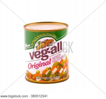 A Can Of Veg-all Mixed Vegetables Isolated On White
